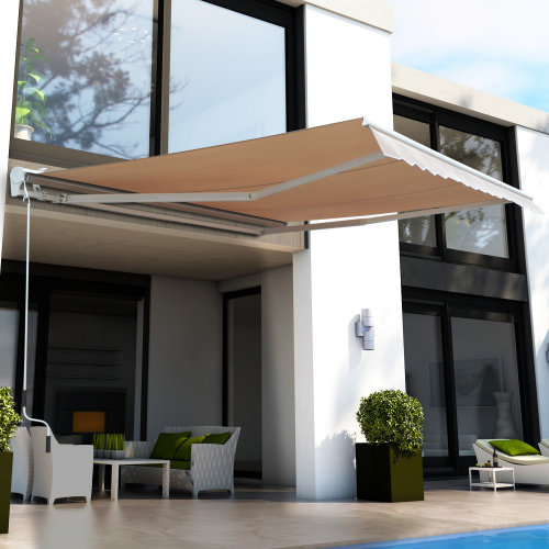 Outsunny Electrical Garden Door Awning Outdoor Retractable Canopy Patio Shelter w/ Remote Controller (3.5 x 2.5m)
