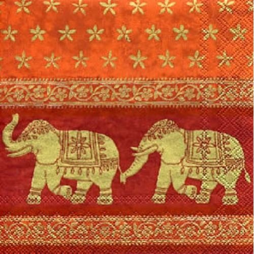 4 x Paper Napkins - Indian Elephants - Ideal for Decoupage / Napkin Art