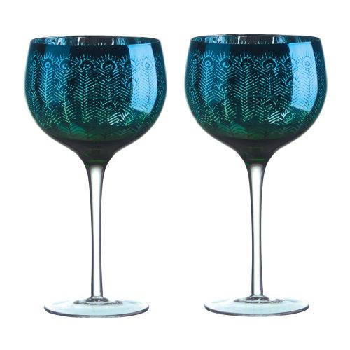 Artland Set of 2 Peacock Gin Glasses