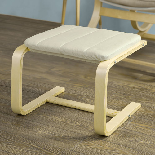 SoBuy® FST38-W, Bentwood Footstool Footrest Foot Leg Rest with Cushion