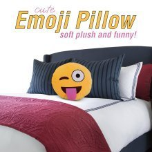 Emoticon Pillow - Sticking Tongue w' Winking - Stuffed Cute Soft Plush Funny and Very Comfortable - Perfect Fun Item for All Ages