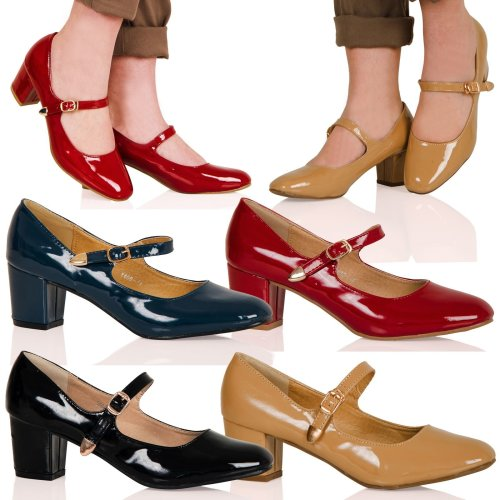 Xanthe Womens Mid Block Heel Mary Jane Smart Office Court Shoes