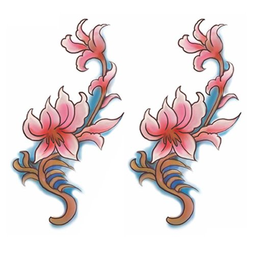 2 Sheets Colorful Flowers Temporary Tattoos Abdomen Makeup Simulation Tattoos Art Stickers Tattoo Sticker