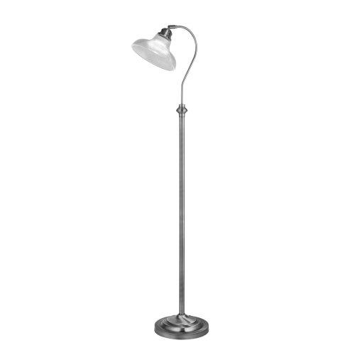 Searchlight Bistro III Floor Lamp Satin Silver Halophane Glass