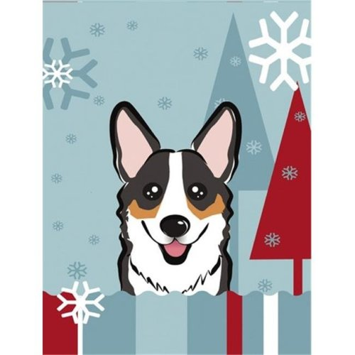 Winter Holiday Tricolor Corgi Flag Garden Size