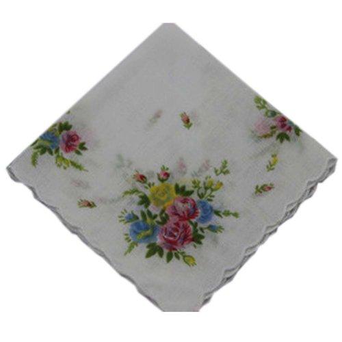 3 Pcs Retro Floral Print Handkerchiefs Ladies Cotton Pocket Handkerchief, #10