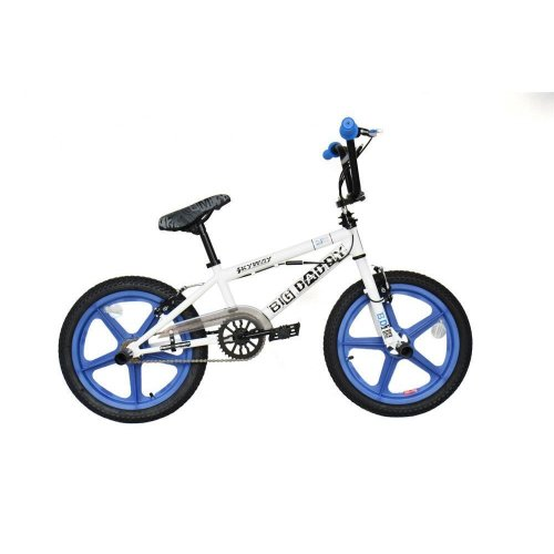 "2019 Rooster Big Daddy Kids 18"" Skyway Mag Wheels BMX Bike Gyro WhiteBlue RS133M"