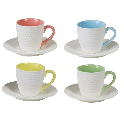 BIA Geo Espresso Cups and Saucers Set of 4