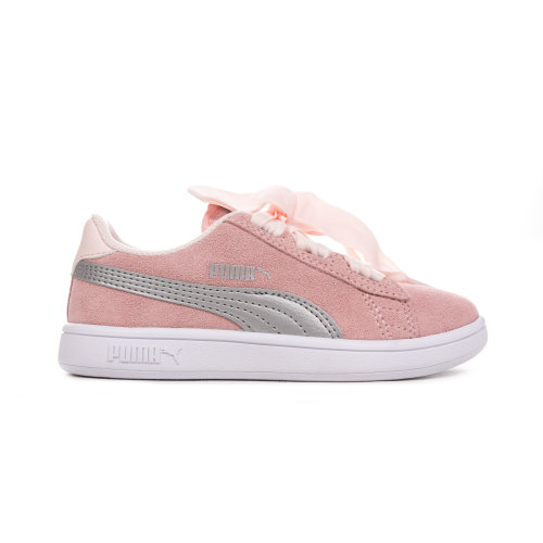 Puma Smash V2 Ribbon Suede Junior Girls Trainer Shoe Pink/Silver