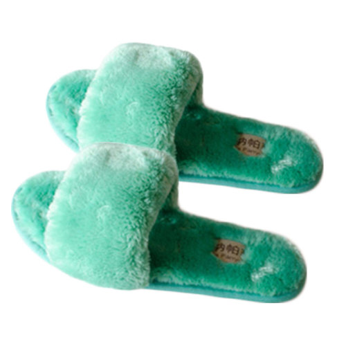 Pairs Womens Indoor Comfortable Soft Cotton Female Plush House Slipper Green