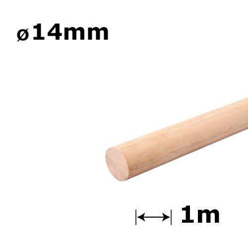 100 x Beech Wood Dowels Smooth Rod Pegs - 1m length, 14mm diameter