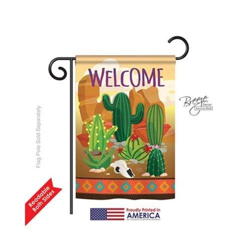 Breeze Decor 65111 Southwest Cactus 2-Sided Impression Garden Flag - 13 x 18.5 in.