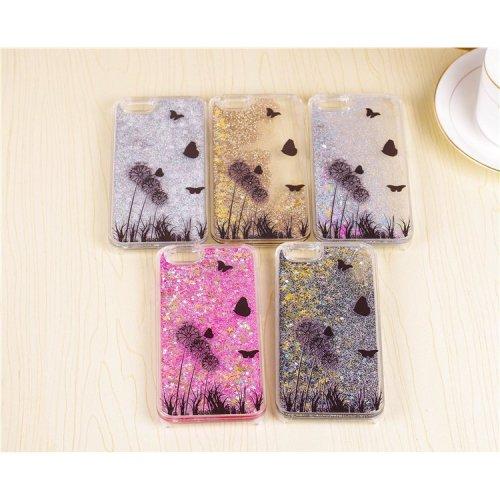 Dandelion Flowers And Butterflies Glitter Liquid Hard Phone Case Cover