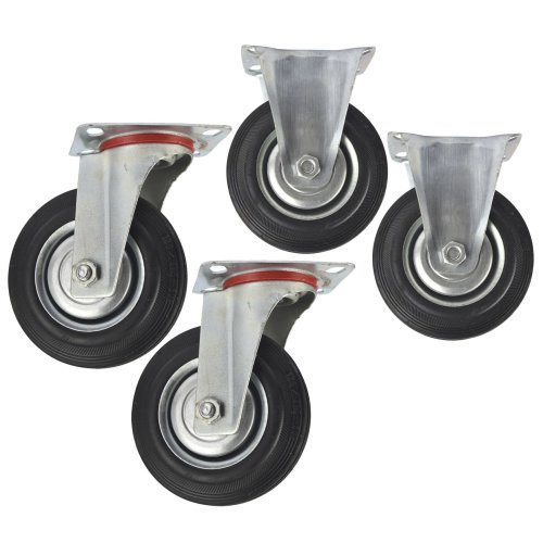 """5"""" (125mm) Rubber Fixed and Swivel Castor Wheel Trolley Caster (4 Pack) CST06_07"""