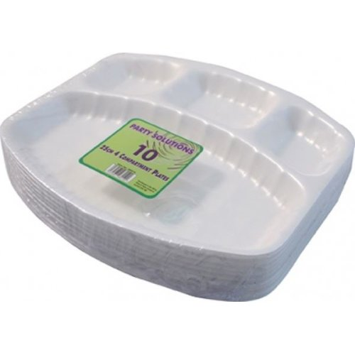 10pk 4-Compartment Polystyrene Foam Plates | Disposable Compartment Trays