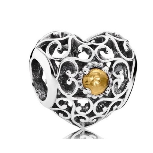 Pandora November Signature Heart Birthstone Charm - 791784CI