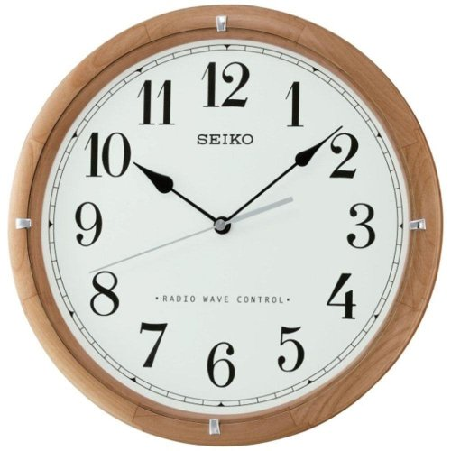 Seiko Radio Controlled Wooden Wall Clock - White Face (QXR303Z)