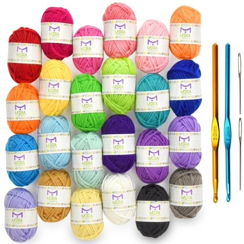 Premium Value Yarn Pack - 24 Acrylic Yarn Skeins - Assorted Colors - Perfect for Any Crochet and Knitting Mini Project - Resealable Bag - 10 GIFTS...