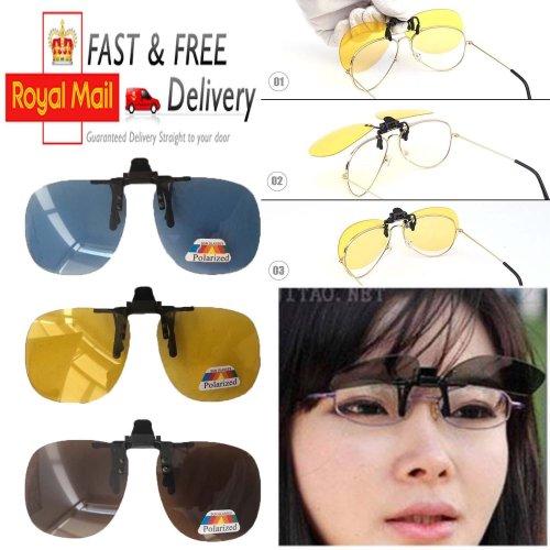 Night Vision Anti Glare Polarized Clip On Driving Glasses