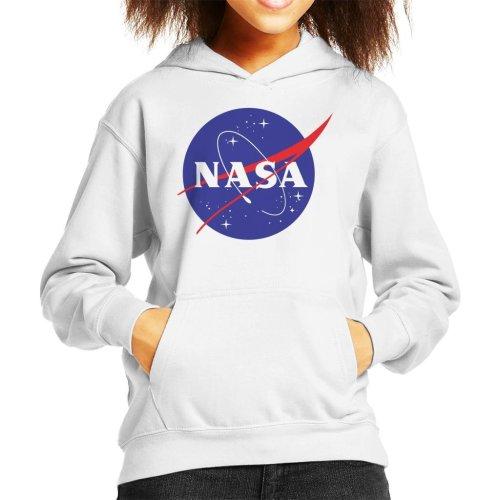 (Large (9-11 yrs), White) The NASA Classic Insignia Kid's Hooded Sweatshirt