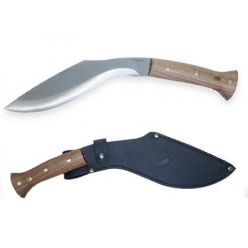 "Condor Heavy Duty Kukri Knife Fixed 10.01"" 1075 Carbon Steel Blade, Walnut Wood Handles, Welted Leather Sheath"