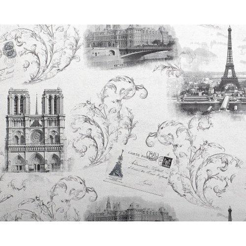 EDEM 9050-10 Paris wallpaper Eiffel Tower romantic shimmering white grey 10.6 m2