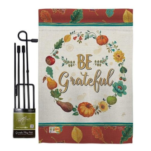 Breeze Decor BD-TG-GS-113071-IP-BO-D-US18-WA 13 x 18.5 in. Be Grateful Fall Thanksgiving Vertical Double Sided Mini Garden Flag Set with Banner Pole