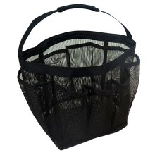 Outdoor Camping Quick Dry Mesh Shower Accessories Tote With Handle-Black