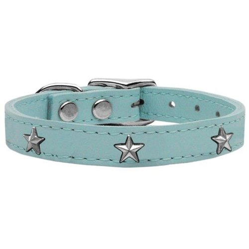 Mirage Pet 83-69 BBL22 Silver Star Widget Genuine Leather Dog Collar, Baby Blue - Size 22