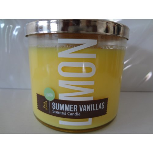Bath And Body Works Lemon Summer Vanillas Scented Candle 14 5 Oz
