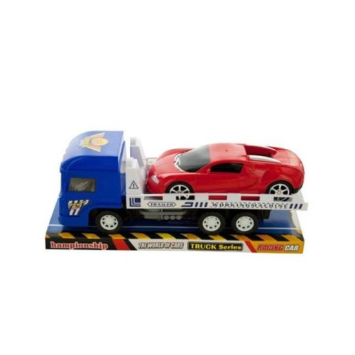 Kole Imports KL228-16 12 x 3.75 in. Friction Trailer Truck with Race Car Set, Pack of 16