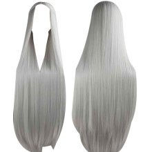 Center Parting Long Straight Cosplay Wig for Halloween Anime Fans [Gray]