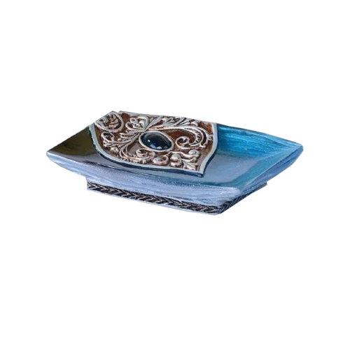 European Style Retro Resin Soap Dish/Soap Holder,Peacock Blue