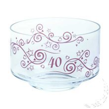 40th Ruby Wedding Anniversary Gift Glass Bowl by Dartington Crystal