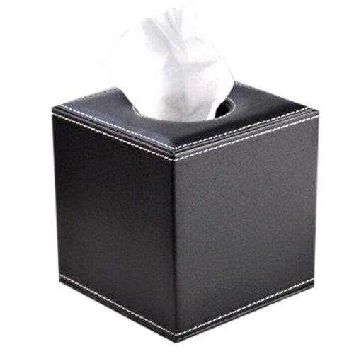 Square Creative Cute Leather Tissue Box Holder (Black)