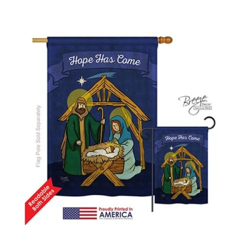 Breeze Decor 14112 Nativity Hope Has Come 2-Sided Vertical Impression House Flag - 28 x 40 in.