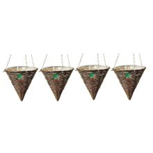 4 X Kingfisher 12 Inch (30Cm) Dark Rattan Cone Hanging Basket