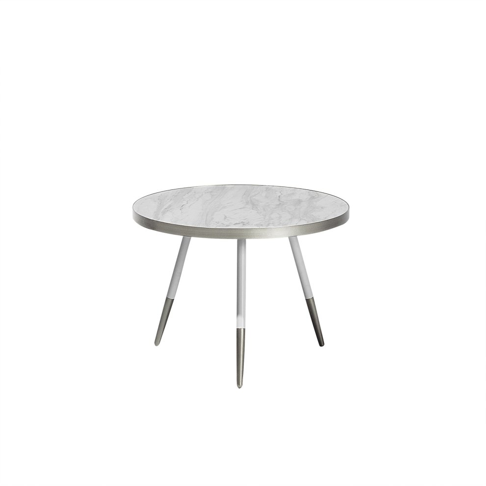 Coffee Table White Marble Effect With Silver Ramona