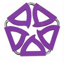 Pentagon Stainless Steel Silicon Potholders Pot Holder, Heat-proof Mat(Purple)