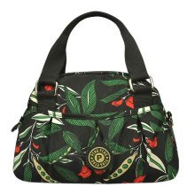 Women Waterproof Zipper Tote Bag Handbag Messenger Bag, Army green, Flower