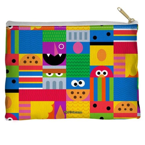 Trevco Sportswear SST269-PCH1-8.5x6 Sesame Street & Squares Accessory Pouch, White - 8.5 x 6 in.