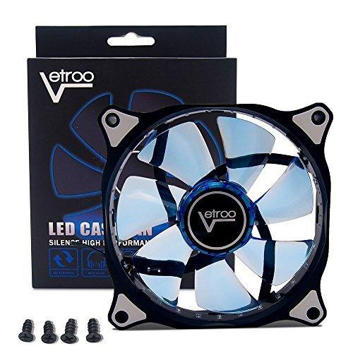120mm BLUE Vetroo Computer PC Case LED Cooling Fan Sleeve Bearing CPU Radiators