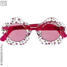 Hippie Flower Glasses Disguise Novelty Glasses Specs & Shades For Fancy Dress - -  glasses hippie carnival party 70s red