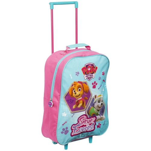 Children Kids Girls Official Paw Patrol Carry On Travel School Trolley Bag Pink