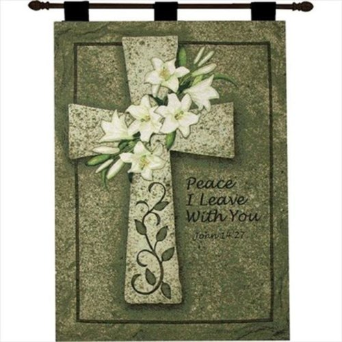Manual Woodworkers and Weavers HWPILW Peace I Leave With You Tapestry Wall Hanging Vertical 26 X 36 in.
