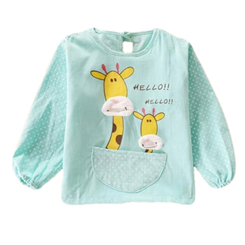 56f7e665ece1f Lovely Giraffe Smocks Baby Feeding Clothes Baby Bibs ,Green on OnBuy