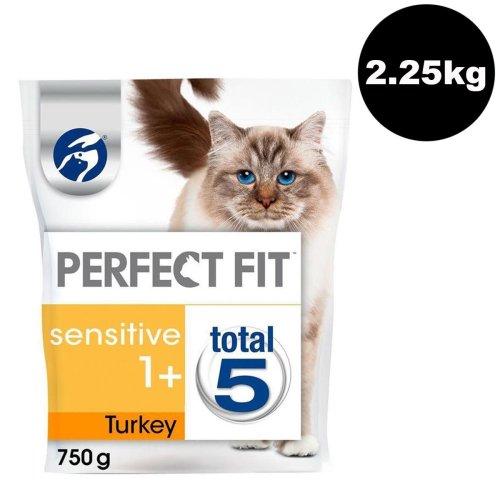 PERFECT FIT Cat Complete Dry Sensitive 1+ Turkey 3x750g