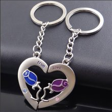 a409789989 Love Heart With Roses Couples Keyrings Lovers Puzzle Keyring Silver Metal  Key Chains