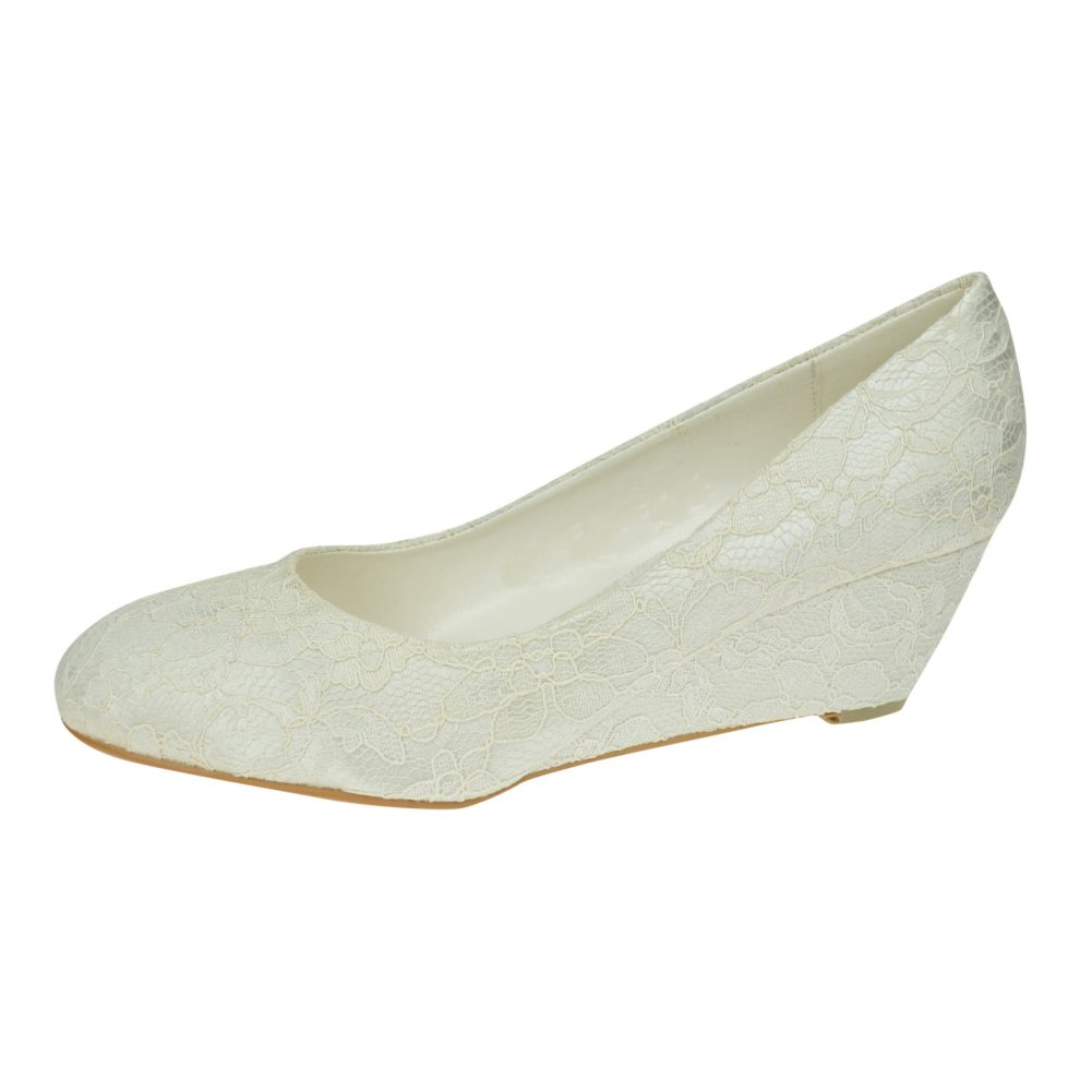 b9bb08d63a2 Womens Ivory Lace Low Wedge Heel Bridal Bridesmaid Prom Wedding shoes