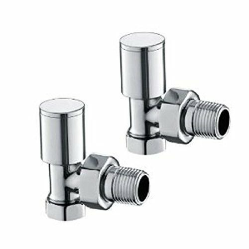 Round angled radiator rad valves pair for wall fitting towel rails